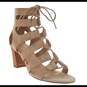 Marc Fisher Suede Lace-Up Heel Sandals